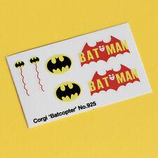 Corgi Batman 'BATCOPTER' No.925 Bat Logo sticker decal reproductions