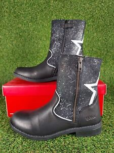 Women's Kickers Nyrman Star Sparkle Ankle Boots Leather Zip Up Black Size 4 UK