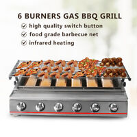 6Burners LPG Gas BBQ Grill Stainless Steel Smokeless Outdoor Cooker Camping