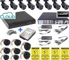 KIT VIDEOSORVEGLIANZA 8 TELECAMERE+DVR ICLOUD+8 CAVI 20M + HD 500gB + 4 CARTELLI