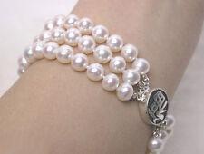 3 Rows Genuine White Pearl Silver Fortune Clasp Bangle Bracelet