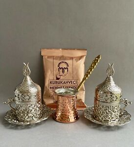 Turkish Gift Coffee Set for 2 - Silver Colour Cup, Copper Pot and Coffee 100g
