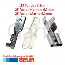 Pack 50X Terminal Faston 6.3 mm 25 Hembras y 25 Machos + 25 Fundas 6.3 mm