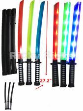 12 Light-Up Ninja Swords w/ Case Flashing LED Long Toy Sticks Glow Party Lot