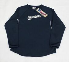 MLB Milwaukee Brewers Youth Boys Therma Base Crew Sweatshirt Sz 10-12