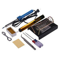 NEW 9in1 30W Electric Solder Starter Tool Kit Set with Iron Stand Desolder Pump#