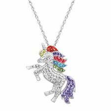 Crystaluxe Unicorn Pendant with Swarovski Crystals in Sterling Silver