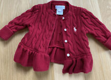 Ralph Lauren Red Baby Girl Sweater Cable Knit Cardigan 3M - Great Condition