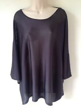 SAINT TROPEZ SIZE L BLACK V BACK TUNIC TOP LAGENLOOK SMART CASUAL HOLIDAY CRUISE