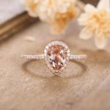 Cz Prong Setting Rose Gold color. Wedding Anniversary Ring with Pear Shape Huge