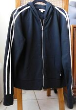 Express Black Hooded Jacket with White Stripes