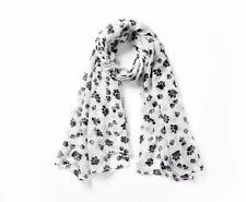 Women's Winter Scarf Neckerchief Dog Paws Print Design Hijab Shawl Wool Bandanas