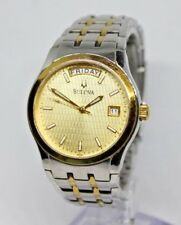 Mens Bulova C960603 Two Tone Day/Date Watch Stainless Steel, Runs Great