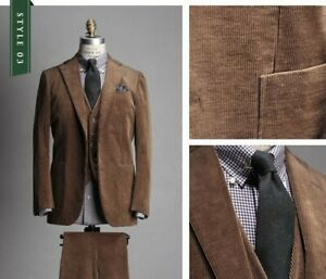 3 Piece Brown Men's Corduroy Suit Hunting Casual Tuxedo Wedding Party Prom Suits