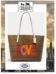 NWT COACH CITY Tote BAG & WRISTLET W/LOVE Print KHAKI CHALK MULTI SIG CC Leather