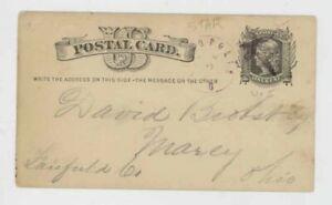 Mr Fancy Cancel ?opolis O Marcy Ohio Purple Star Cancel 1879 Postal Card #64