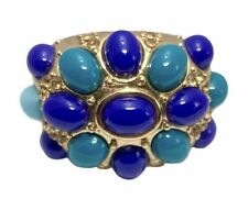 Gold Plate Fashion Ring Blue And Turquoise Color Acrylic Beads Gold Rhinestones