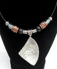 Unique Hand Hammered Vintage Silver Plate Spoon Pendant Necklace w/ Glass Beads