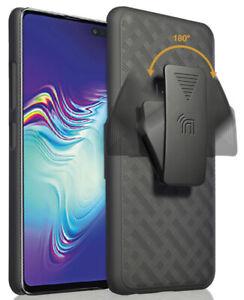 Black Case Kickstand Cover + Belt Clip Holster for Samsung Galaxy S10 5G SM-G977
