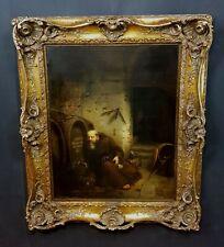 PAUL VON FRANKEN (*1818-1884  Düsseldorf) Antikes Ölbild Mönch im Weinkeller.