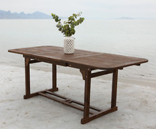 Acacia Wood Outdoor Dining Table Dark Brown Expandable Patio Deck Furniture