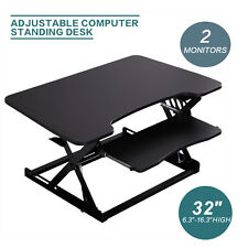 Desktop Tabletop Standing Office Computer Desk Adjustable Height Stand Black