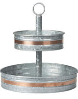 llyapa Galvanized 2 Tier Serving Stand with Copper Trim Two Tier Metal Tray