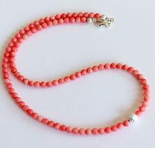 Coral Cadena de Piedra Preciosa Rosa Collar Plata 925 Bola Natural Mujer 24a1230f44d