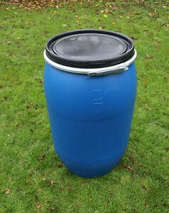 Wasserspeicher Regentonne Tonne Fass Kunststoff mit Deckel und Spannring 220 L *