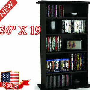 """Storage Cabinet Adjustable Shelves Media Organizer CD DVD Black 5 Shelves 36""""19"""""""