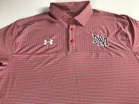 Under Armour Polo Shirt Mens 2XL Heat Gear Loose NM Red Striped New Mexico Golf