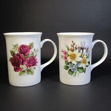 Windsor Porcelain Mugs Set of 2 Red Roses Mug Floral Bouquet Made in England