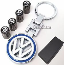 VW Volkswagen metal key ring + Tyre valve caps Polo Golf Passat with gift box
