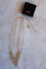 Mark. 2 V Versatile 3 in 1 Goldtone Necklace Jewelry Genuine Swarovski Crystal