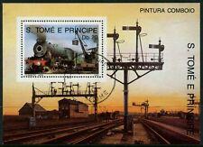 S.TOME E PRINCIPE - 1989 'PINTURA COMBOIO RAILWAY' Miniature Sheet CTO [A8463]