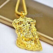 Men's 18k Gold Plated MICRO JESUS HEAD PIECE Pendant Chain Hip Hop Necklace