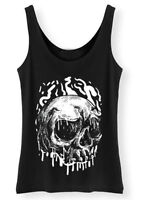 Dripping Skull Tank Top Womens Ladies Rock Punk Goth Metal Grunge Vest