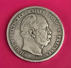 Foreign Silver Coin, 1874A - 5 Mark- German States Prussia (Wilhelm I)