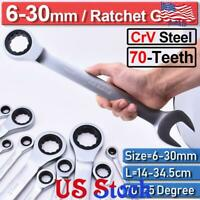 12Pcs Crv Steel 6-32mm Ratchet Wrench Gear Spanners Tool Set 72-Teeth 12-Point