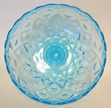 Large Blue Glass Pedestal Bowl Geometric Pattern Unsigned 4 to 5 Inches