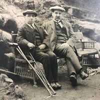 VTG RPPC Postcard C. 1900-1915 Men w Crutches on Wrought Iron Bench Cliff Side