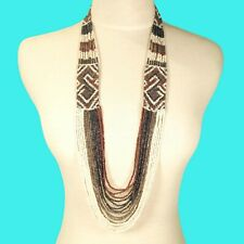 "36"" Waterfall Copper Hematite Multi Strand Handmade Seed Bead Statement Necklace"