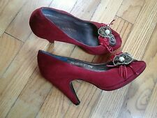 BEAUTIFUL SACHA LONDON WOMAN'S SHOES RED SUEDE SIZE 7 37.5 OPEN TOE HEELS