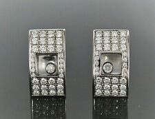 $12500 Chopard 18K White Gold 1.25ct Happy Pave Floating Diamond Square Earrings