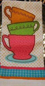 NEW COTTON COFFEE PASTEL STACKED CUPS KITCHEN DISH TOWEL PInk Blie Green