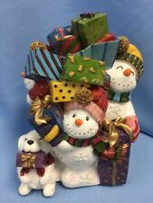 "Nos Fitz & Floyd Musical ""Frosty Friends� Snowman Family, Plays ""Toyland� 7.5�"