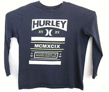 Hurley Mens Blue Large Graphic Logo Crew Neck Long Sleeve T Shirt