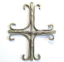 """Great Vintage Large 3"""" Silver Tone Religious Cross Handmade Necklace Pendant*D37"""