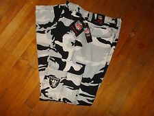 NWTS NFL OAKLAND RAIDERS Camo Cargo FLEECE Lined Pants Size 34W X 34L Men's