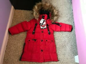 Canada Weather Gear Toddler Girls Snap-Up Full-Zip Parka- Red Color size 4T NEW